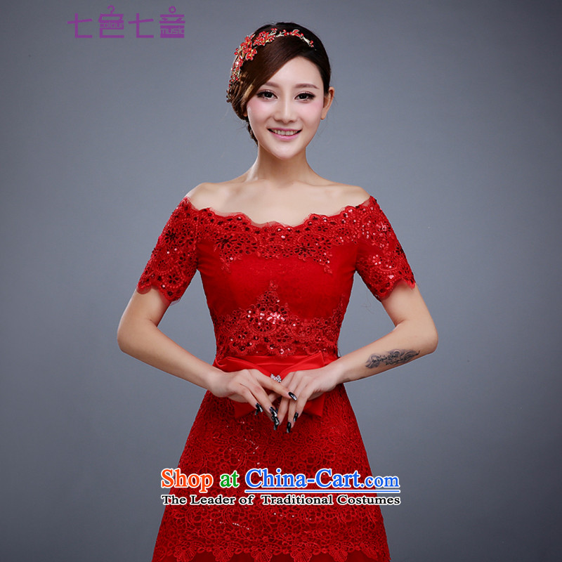 7 7 color tone wedding word shoulder the new 2015, a separate shawl lace nails at shoulder-ju and chest wedding dedicated PJ026 red are code