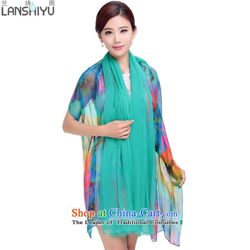 Ho Shih rain silk scarves female double sauna silk scarf BC890802 long green