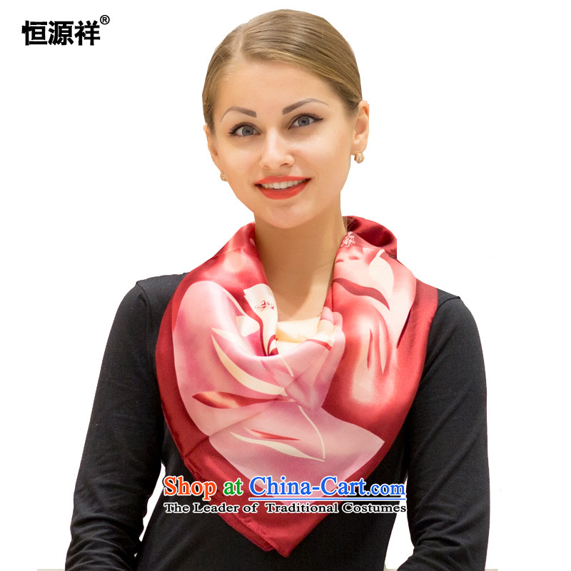 Hengyuan Ms. Cheung silk scarf and classy towel autumn and winter herbs extract new upscale silk scarfs sunscreen silk scarf air-conditioned room the mandatory fine gift boxed31# Ruby Red