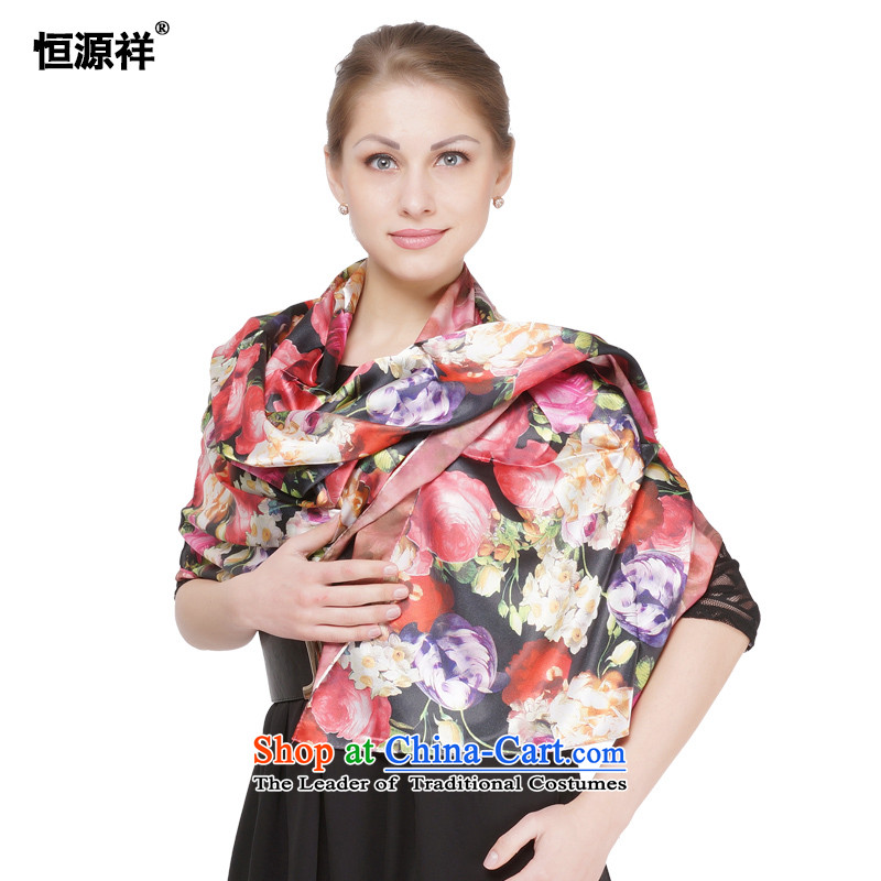 Ms. Cheung Hengyuan silk scarf emulation silk digital two-sided printing long towel summer sunscreen silk scarf women and two air-conditioning scarves with Cape Floral rose stylish and classy 53#-) and black and red rose