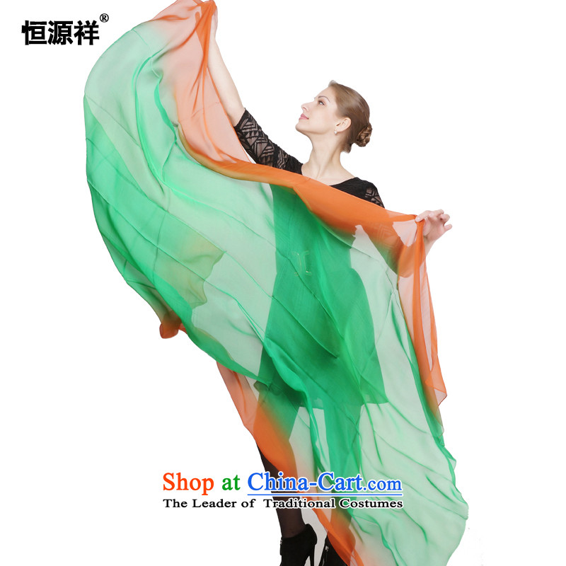 Hengyuan Ms. Cheung silk scarf summer silk chiffon dual color gradient color long spell herbs extract Scarves/towels temperament wild hot sunscreen silk scarf D1341-4#- green coffee red