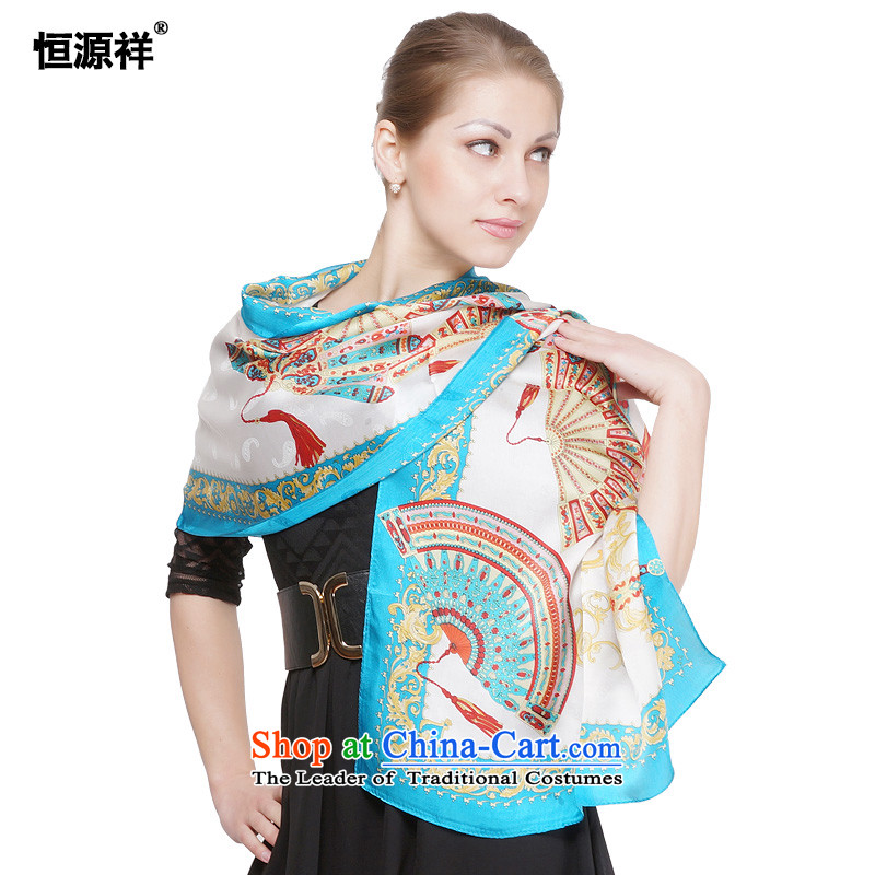 Hengyuan Ms. Cheung silk scarf sauna wave of silk scarves/scarves stamp herbs extract stylish temperament wild sunscreen silk scarf 4#- Blue