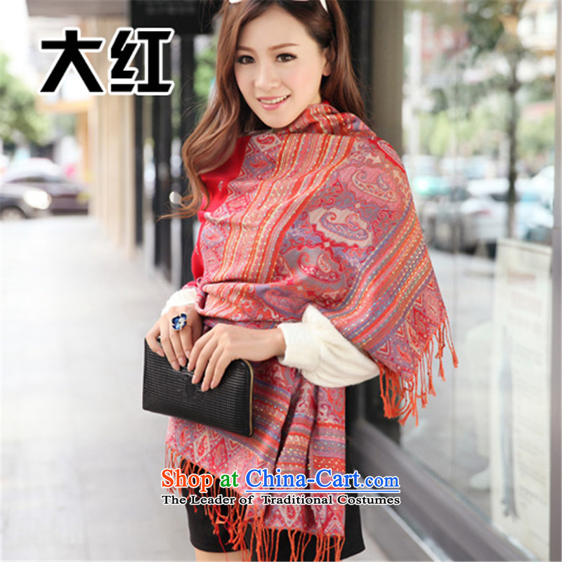 2015 WINTER spring and autumn Korean version of ethnic long Ms. scarf cotton linen travel Lijiang large shawlWCT1 red are code