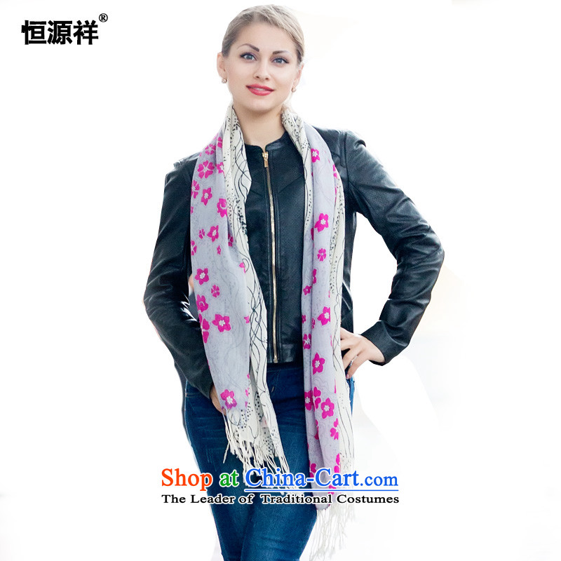Ms. Cheung Hengyuan wooler scarf autumn and winter thin, stamp wooler scarf extralong shawl two Korean version of the scarf kit Tau Wai Shing Gift Box1130-1# Bi-color printing