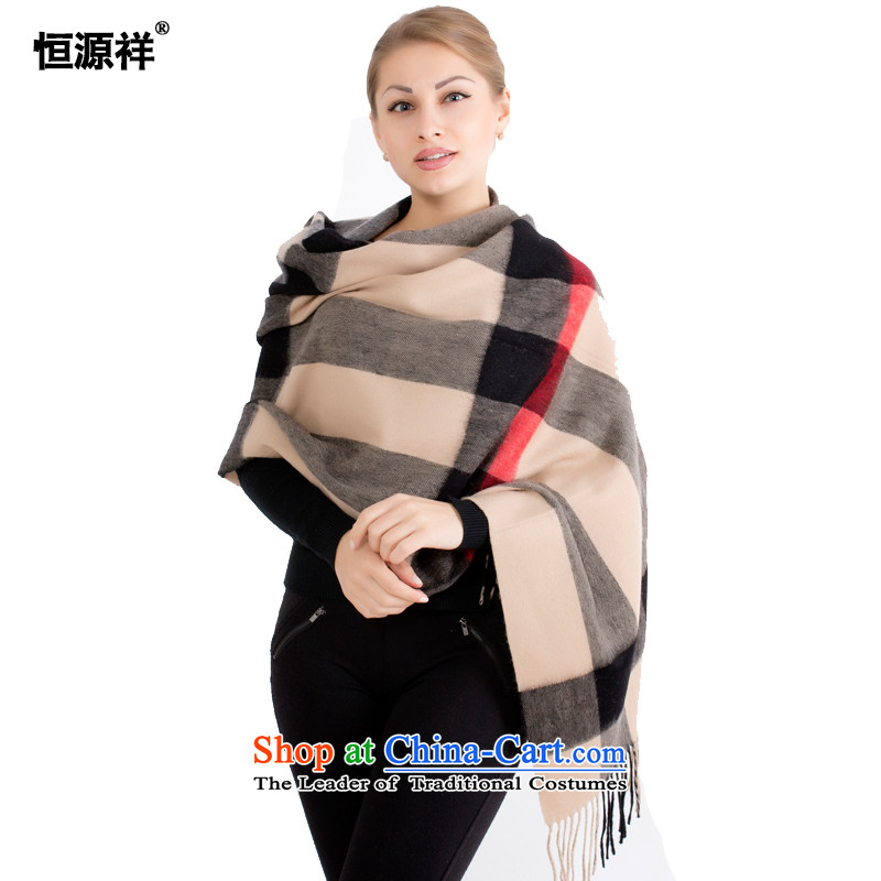 Ms. Cheung Hengyuan wool large shawl autumn and winter thick warm English latticed handkerchief with long history of wild cashmere shawls large black and 1#