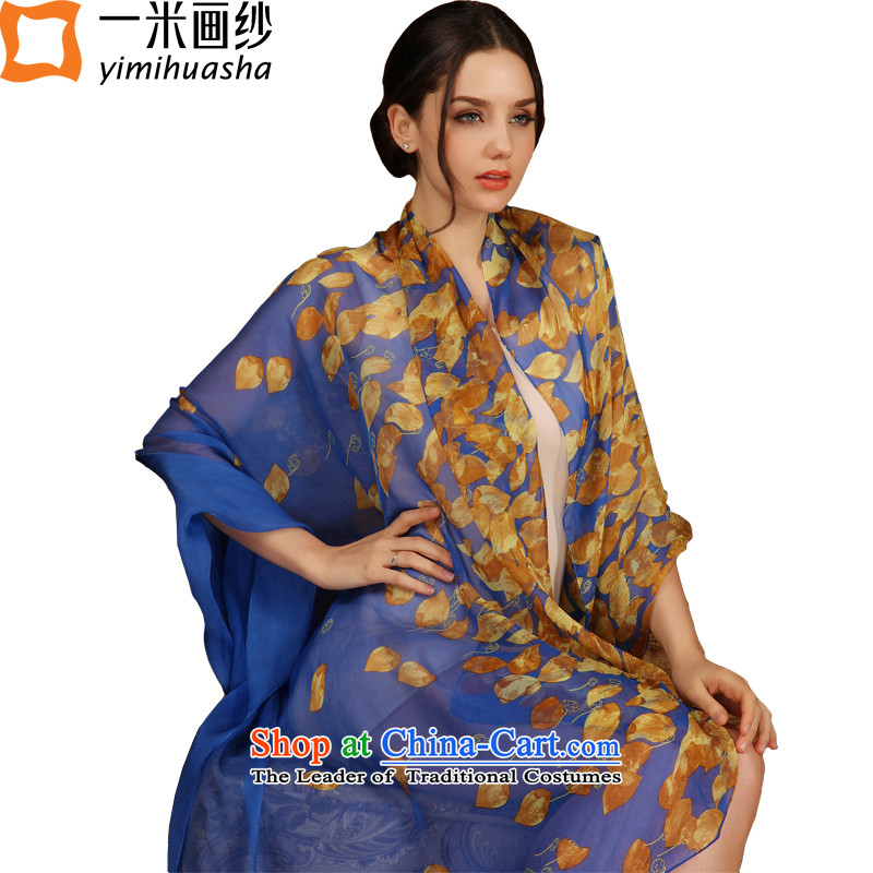A picture of a new summer m_ Ms. silk stamp sunscreen beach silk scarf sauna silk scarves long silk shawls sunscreen ruyi leaf drift blue