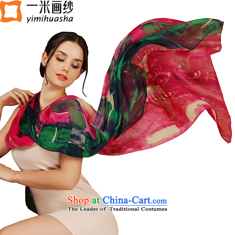 A picture of a new summer m) Ms. stamp silk scarves long sunscreen beach towel sauna silk scarves sunscreen shawl in dark green red