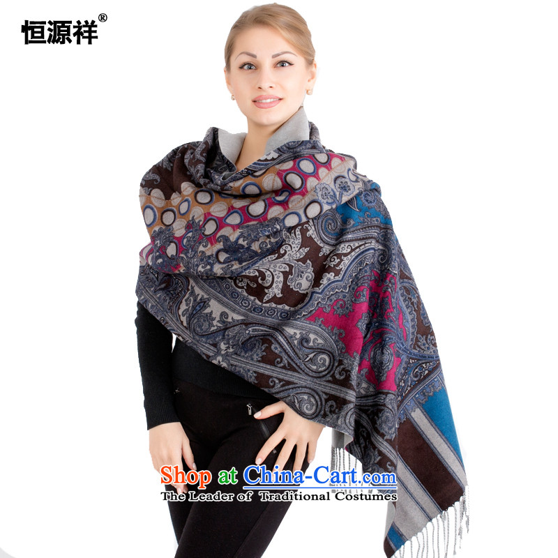 Ms. Cheung Hengyuan large shawl herbs extract silk brushed autumn and winter thick a scarf long two comfortable with a soft warm聽PE00262A_ Black blue