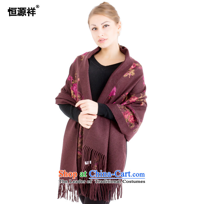 Ms. Cheung Hengyuan wool large shawl聽 new products 2015 autumn and winter warm longer Ms. thick cable dyeing stamp handkerchief also Pure Wool聽10_ cashew flower coffee