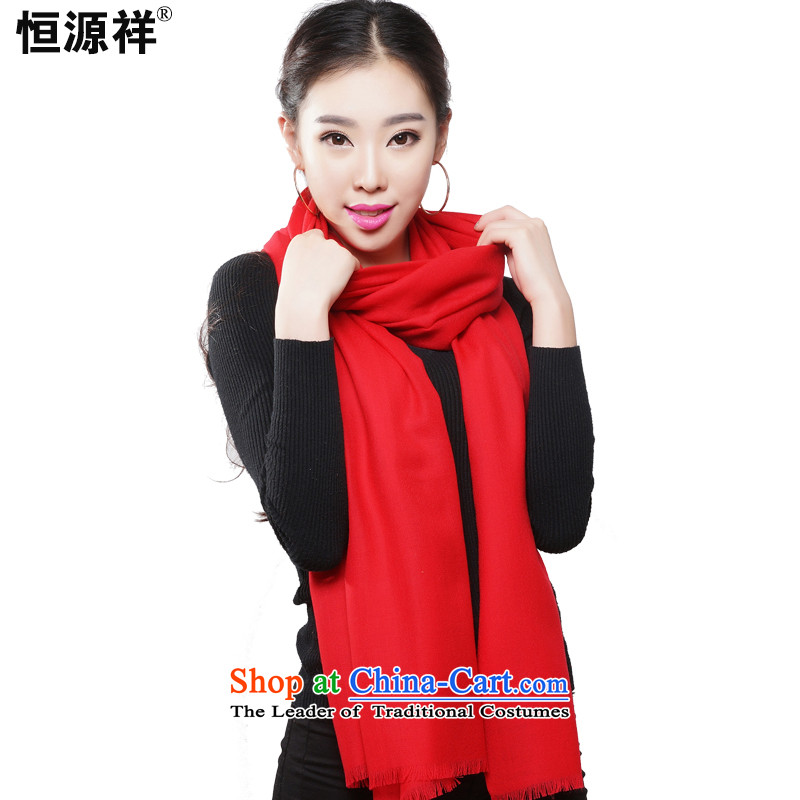Ms. Cheung Hengyuan wooler scarf of autumn and winter ) Solid Color wild Korean Fancy Scarf dual-use warm comfortable Australian Wool Gift Box Red