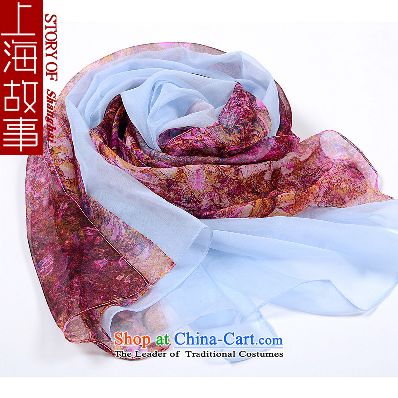 Shanghai Story silk scarves shawl scarf new a masks in the stitching of daisy-blue