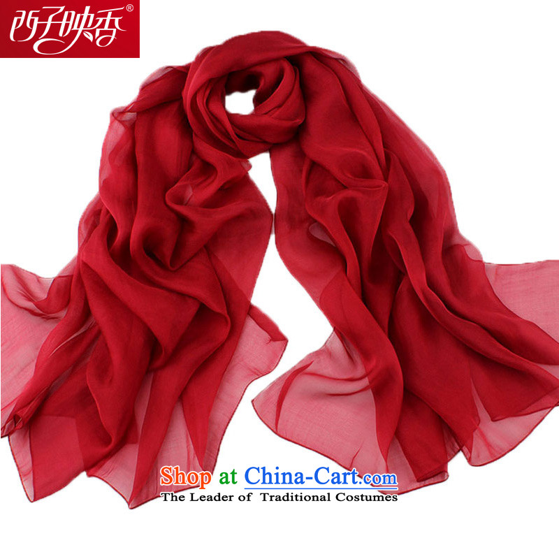 Hsitzu Hong silk scarves President Dos Santos silk shawls four season air conditioning low, dark red scarf