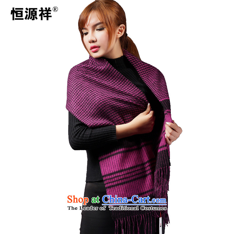 Ms. Cheung Hengyuan wooler scarf Lamb Wool Velvet Wai Chokeholds Ms. head classic large red hot sales annual temperament 20#- wild Black purple small grid