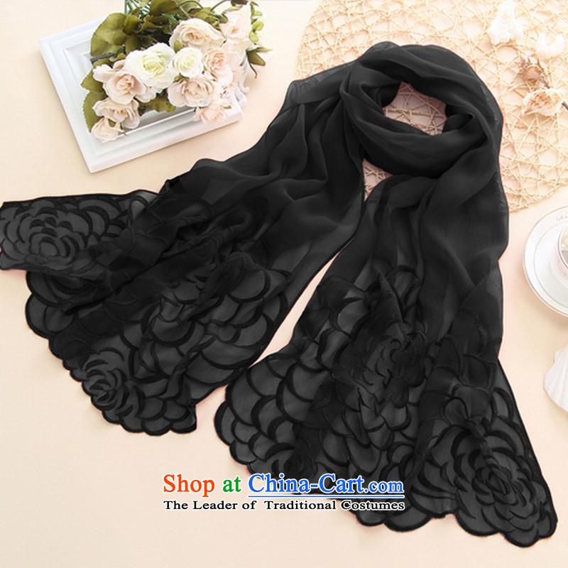 Silk Scarf girl in spring and autumn QUOX Korean version of pure color herbs extract silk scarfs upscale shawl sunscreen black Camellia