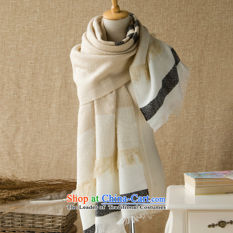 Men and women's universal spring and summer warmth Knitting scarves large size stylish streaks stitching row heart like of thermal profile - beige are code