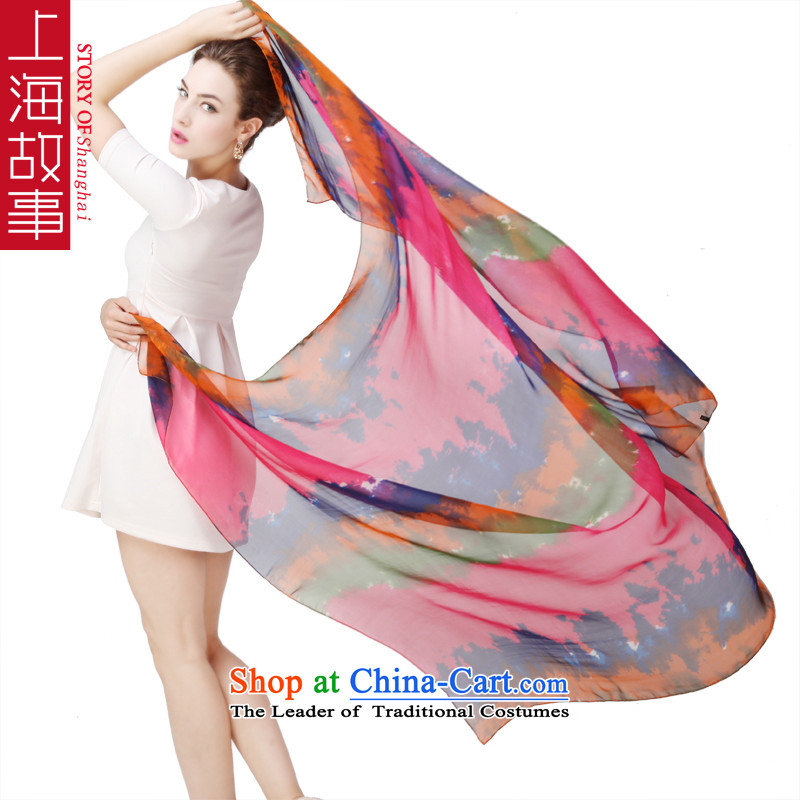 Shanghai Story herbs extract silk scarves Fancy Scarf oversized long towel haze clouds hung
