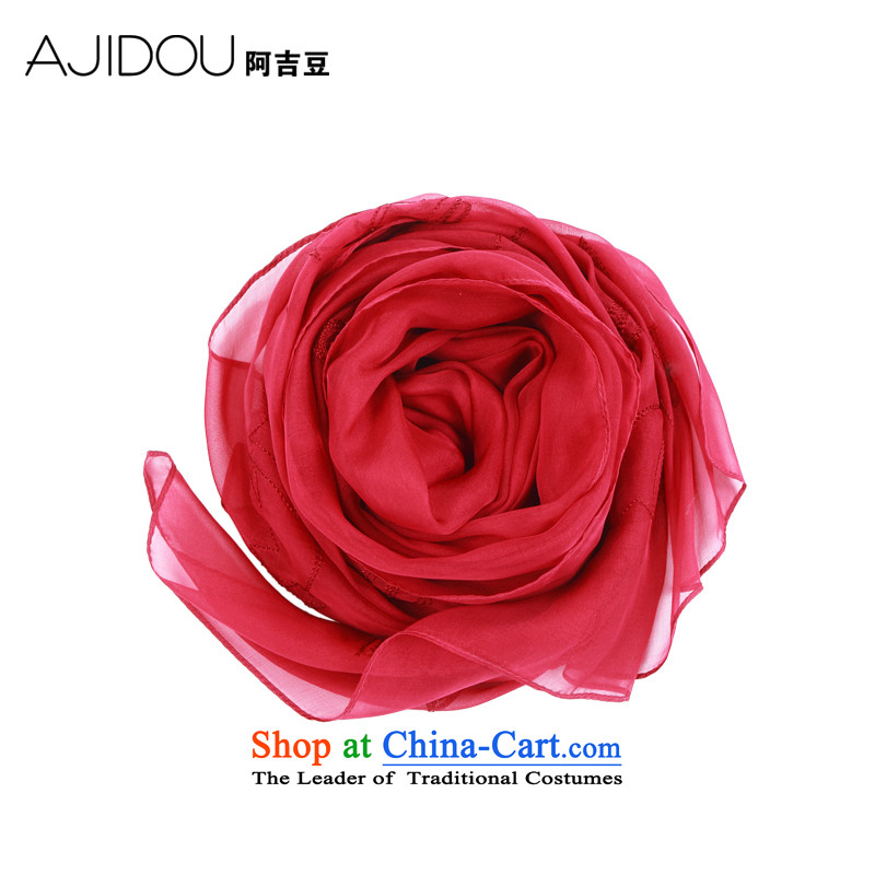The Kyrgyzstan AJIDOU extra large solid color silk scarf long spring and autumn scarf bride shawl female sunscreen beach towel accessories red