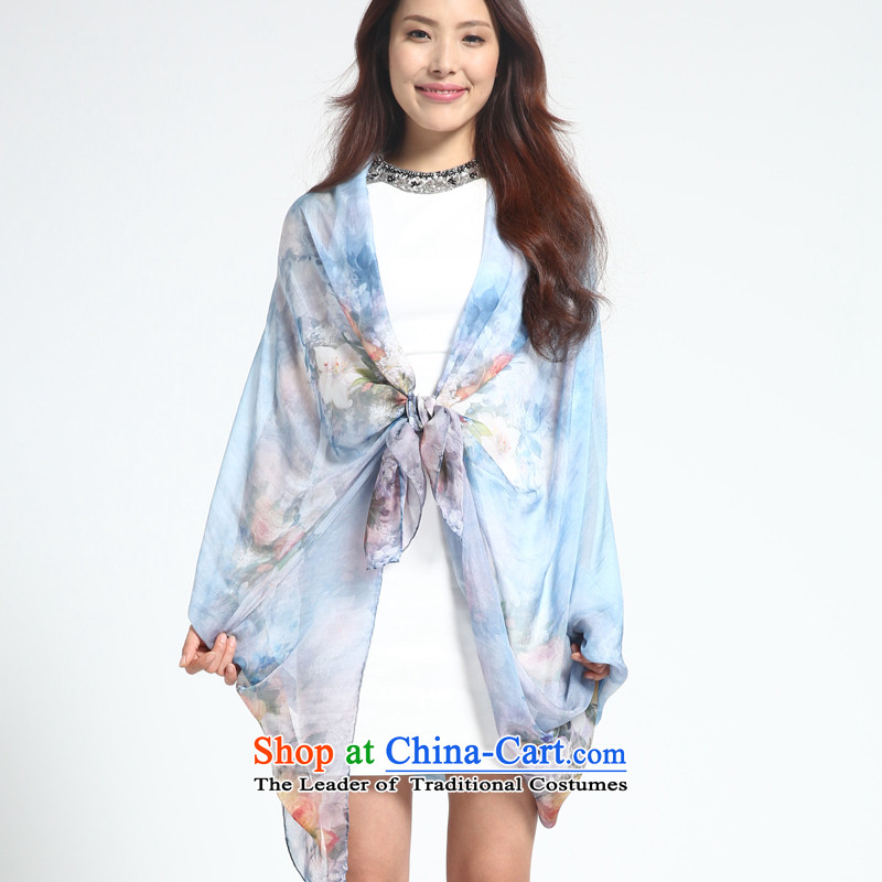 Silk scarves shawl female summer sunscreen herbs extract scarf long large flower since her eerily - Blue