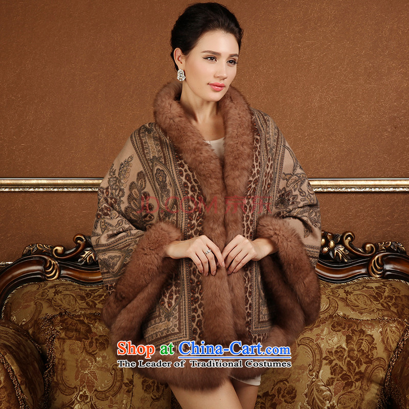 A picture of the cashmere m stamp, rabbit hair at side seam large shawl scarf brown