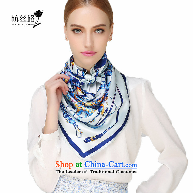 Silk scarves and classy towel female summer air-conditioning shawl herbs extract scarf Chao Silk Road Light package dance - Blue