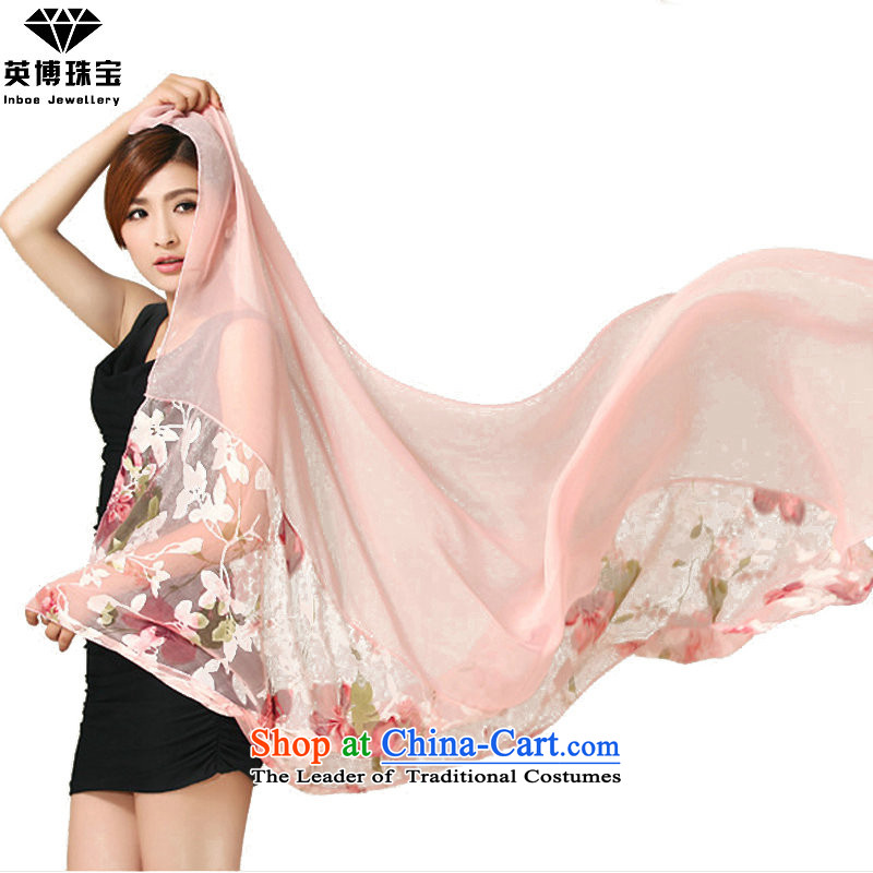 The British blog autumn and winter silk scarf scarf female sunscreen long silk scarf shawl masks shawl gift box Pink Ladies