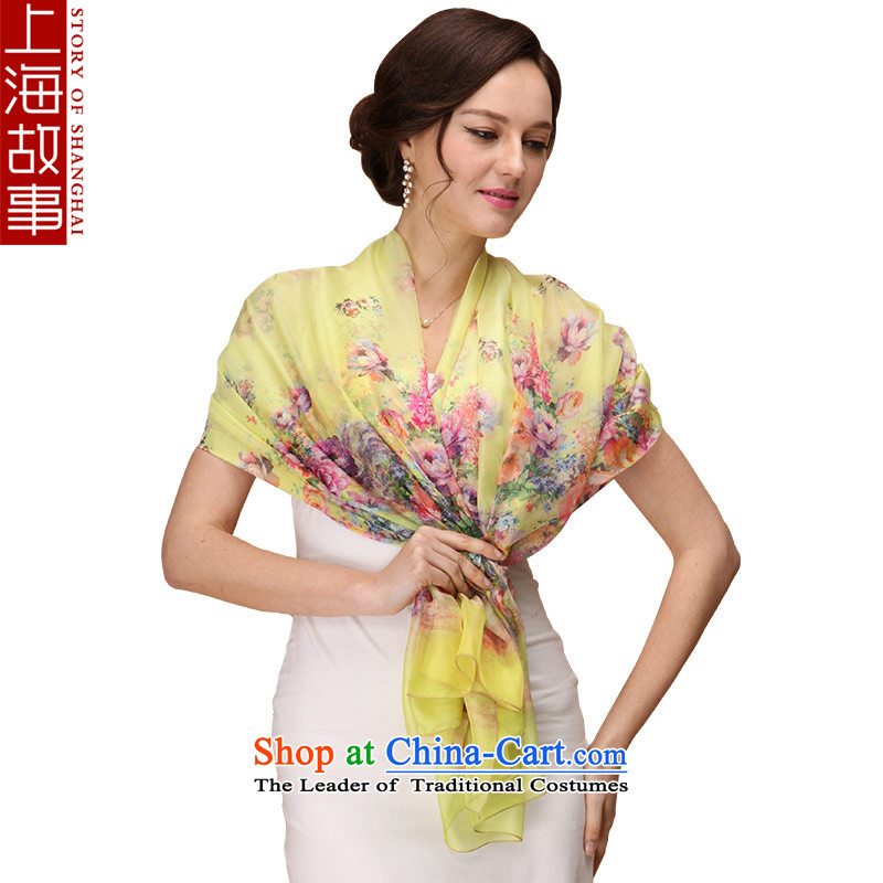 Shanghai Story silk scarf scarf can head, a yellow flowers masks