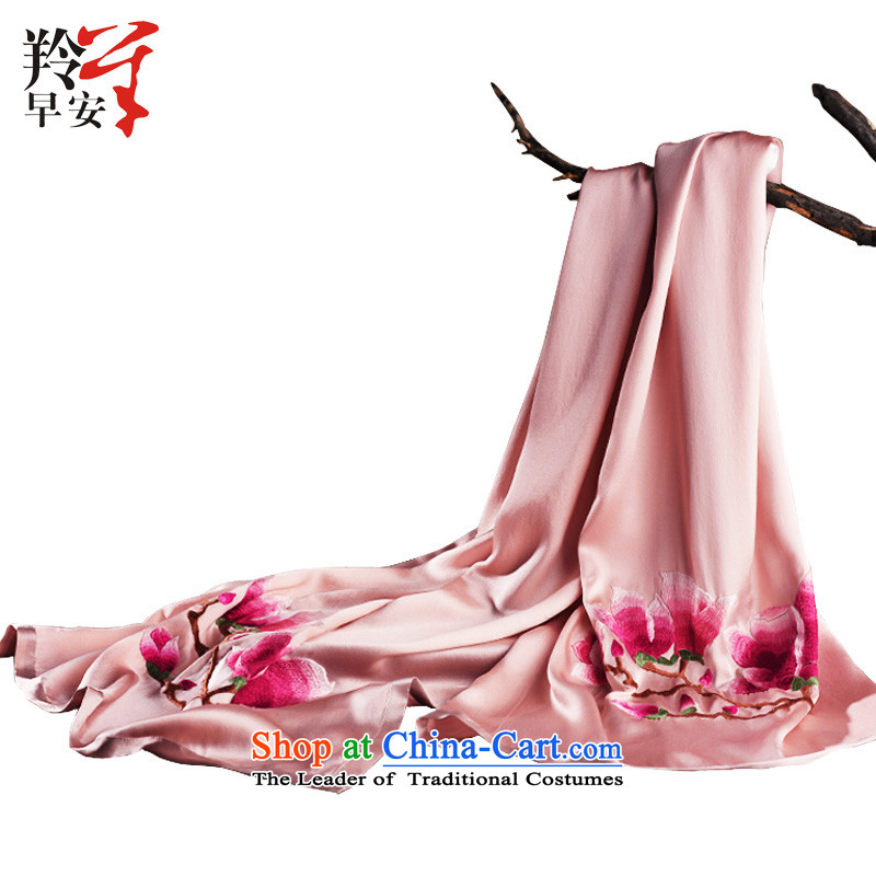 Good morning antelope suzhou embroidery gifts herbs extract silk scarf Peach Blossom