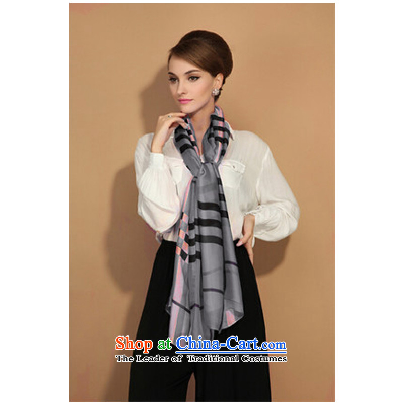 The spring and summer English latticed damask satin scarf thin air-conditioned sunscreen driving shawl light long female luxury silk scarf Gray