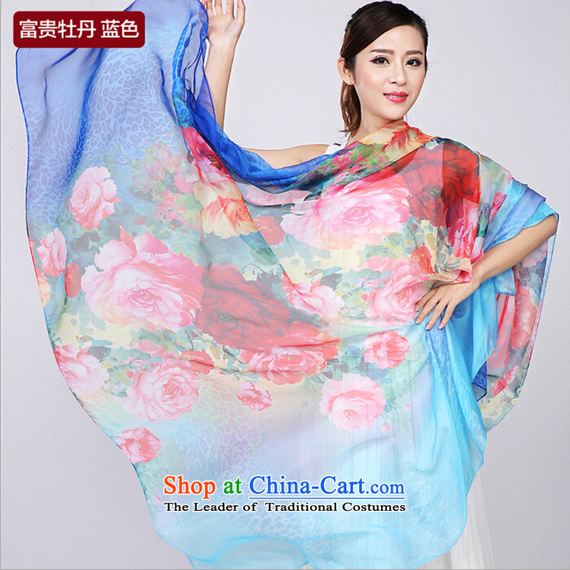 Shanghai Story summer new large size emulation Ms. silk shawls air-conditioned beach sunscreen silk scarf and contemptuous of Mudan - Blue