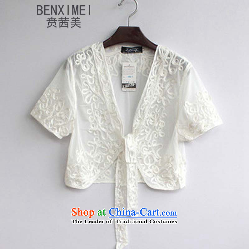 Mrs Ure American summer ben new Korean version of large numbers of ladies lei mesh Plate flower small Kampala shoulder Knitted Shirt with whiteL 029 mother