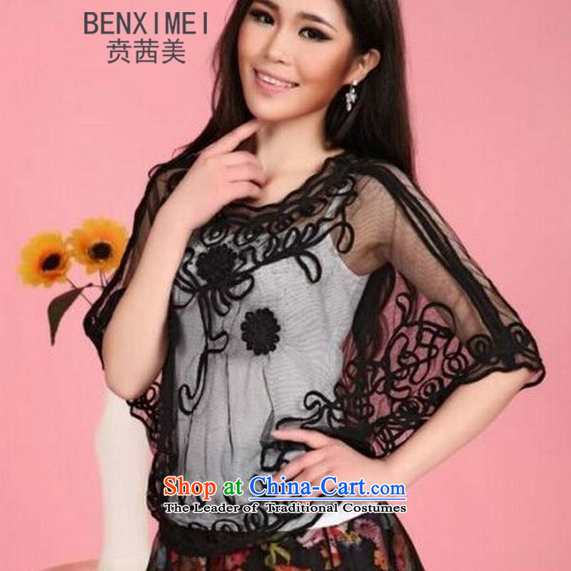 The new US, Mrs Rosanna Ure Ben Western lace Kit-bat jacket Short Head Plate flower nightclubs replacing cover up 032 blackL