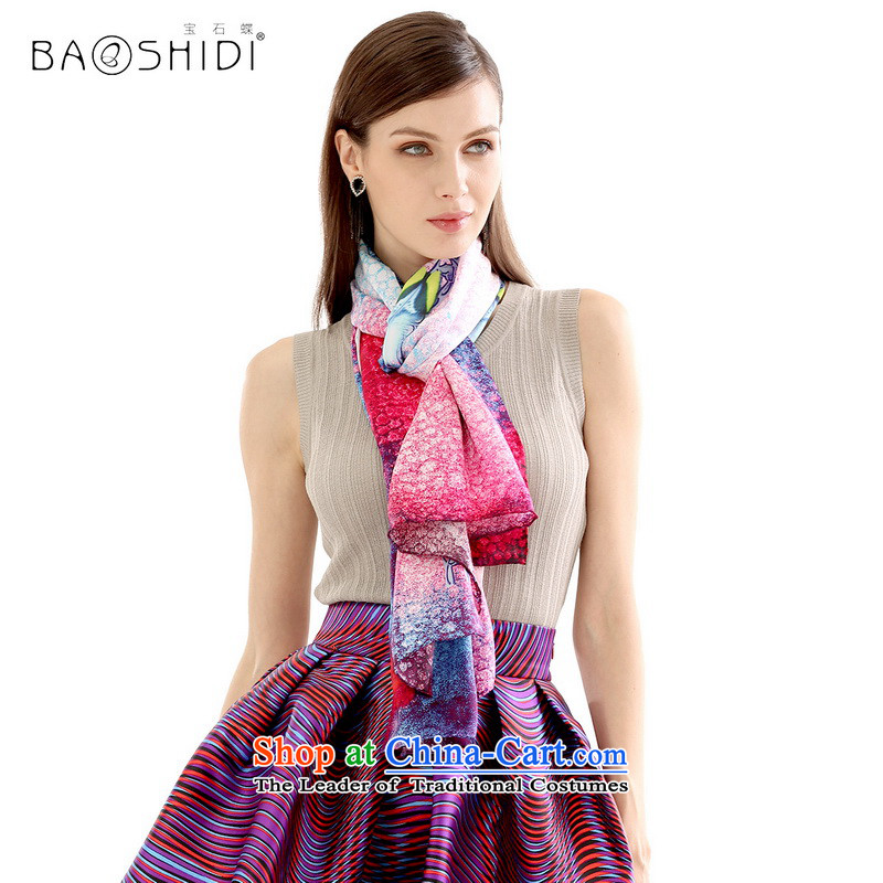 Gems butterfly silk scarves 2015 Spring/Summer new upscale silk scarfs air-conditioning shawl long sunscreen Scarves/Shawls-Red