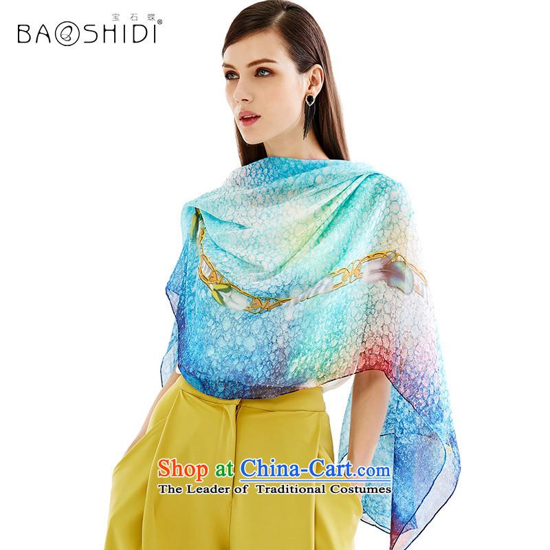 Gems butterfly silk scarves Summer 2015 Ms. New Silk chiffon sunscreen shawl Scarves/Yat shawl aqua-blue