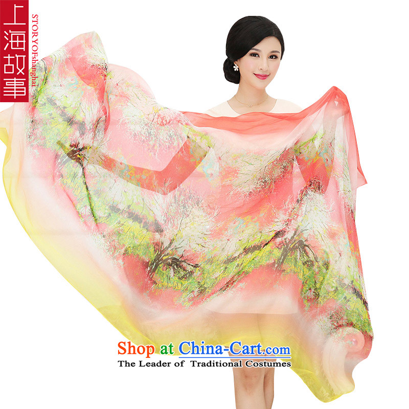 Shanghai Story silk scarves summer poster stamp herbs extract shawl scarf RH04 female