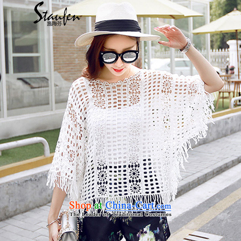 Stauffen 2015 Summer new fresh lace hook flower engraving edging stitching shawl 663 white are code