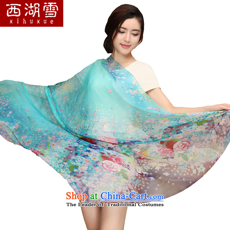 Shanghai wind silk scarves, warm scarf herbs extract stamp story silk scarf long rain cape ring Lam