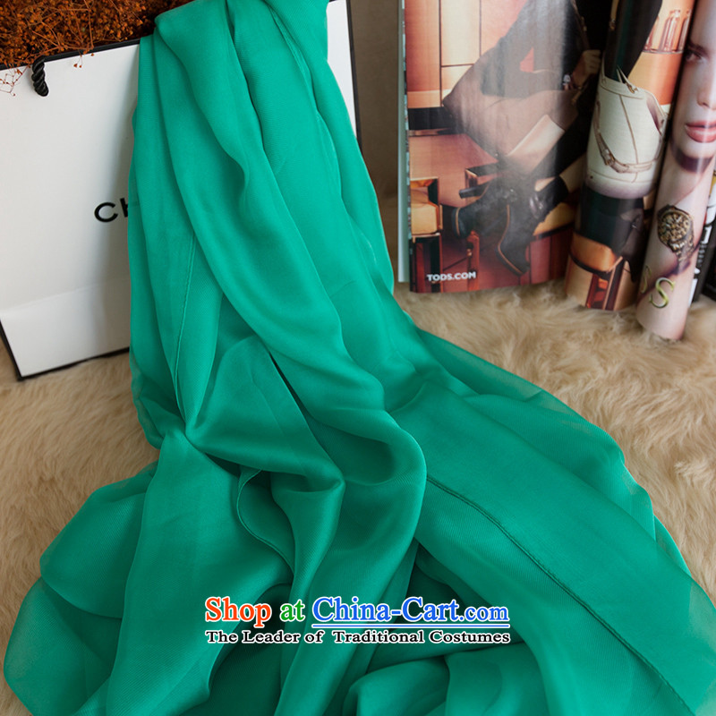 In spring and summer sunscreen silk scarf extra-large air-conditioning Fancy Scarf sea beach towel long masks in female chiffon Grand Prix of twill lake blue