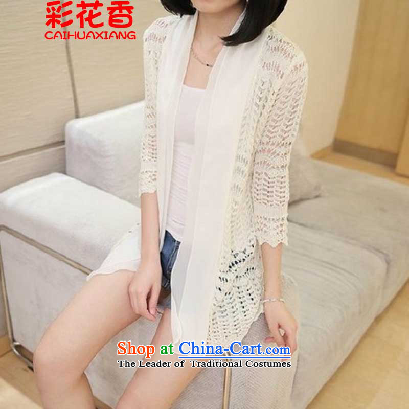 The fragrance of the spring and summer of 2015, also replace simple chiffon stitching Knitted Shirt LADIES CARDIGAN 7 cuff engraving jacket sunscreen yi air-conditioning shirt 8820 apricot are code