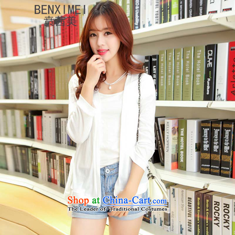 Mrs Ure American knitwear ben female long-sleeved chiffon lace stitching summer cardigan thin air-conditioning smock shawl small jacket320white are code