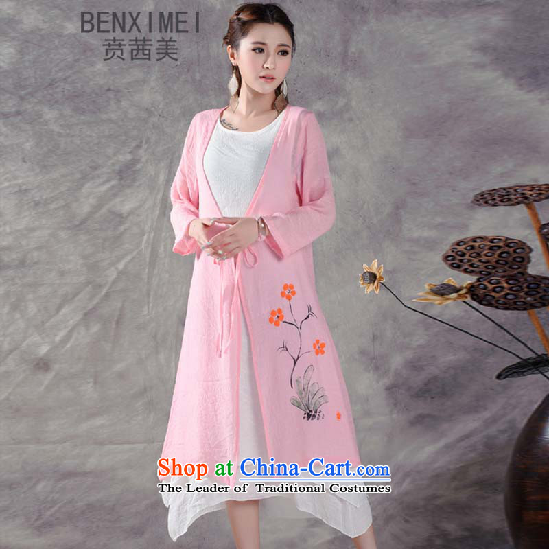 Mrs Ure American summer ben new ethnic women retro cotton linen in pure color long system with low print shawl jacket Pink_Shawls are code