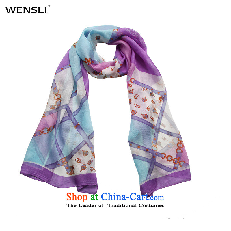 Wensli scarf 100 herbs extract silk long gittoes yarn silk scarf female new scarf Jane, Purple