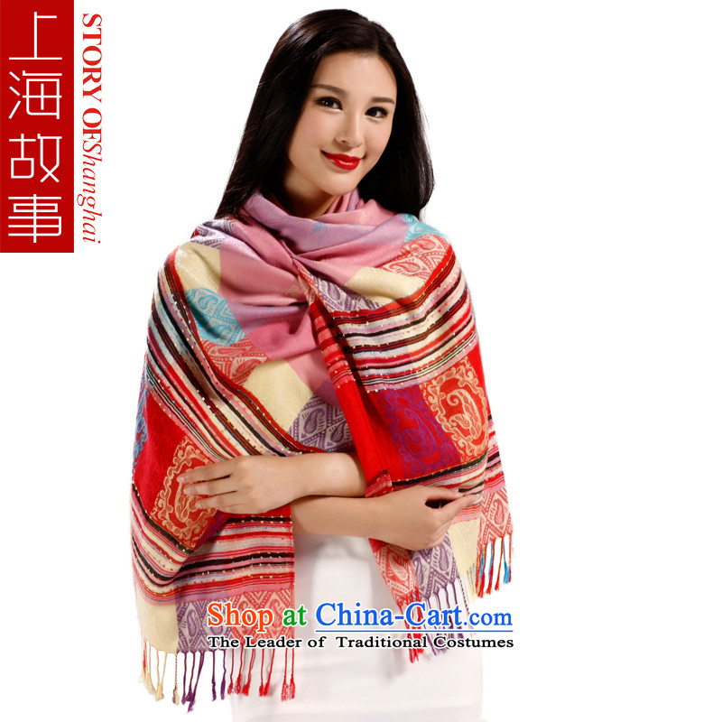 Shanghai Story autumn and winter ethnic Ms. Fancy Scarf two sheikhs style with red powder