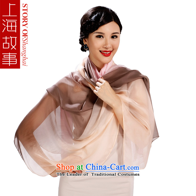 Shanghai Story silk scarves President Dos Santos silk-color gradient scarf spring and summer wild sunscreen shawl masks in gray powder gradient