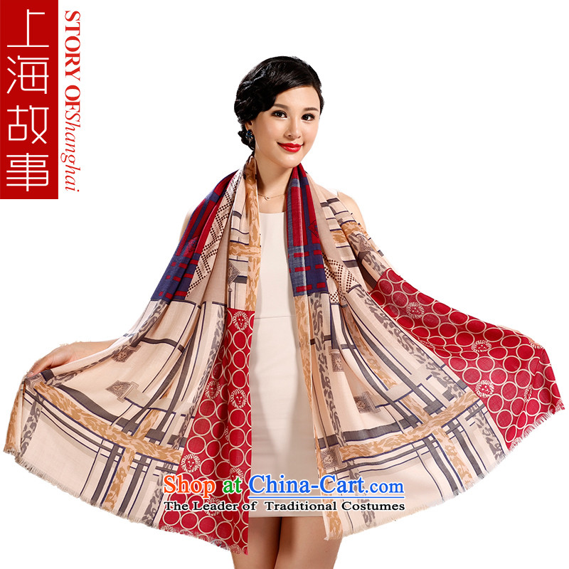 Shanghai Story 2015 autumn and winter long Cashmere wool pashmina shawl Fancy Scarf unisex warm a wild chain chain of love - Red