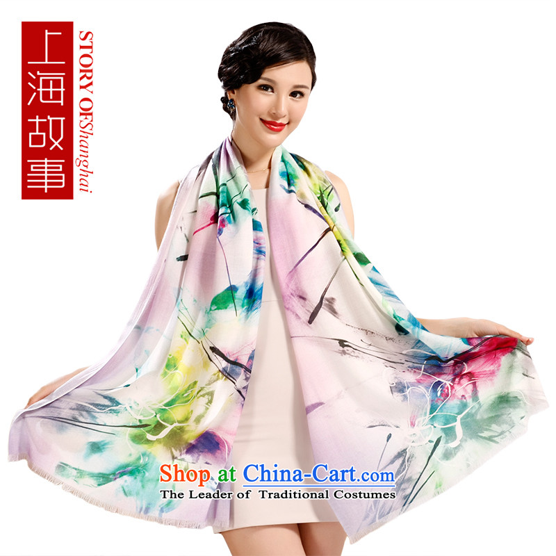 Shanghai Story Ms. wooler scarf digital inkjet warm winter shawl large art series (gift box as soon as possible in a poem