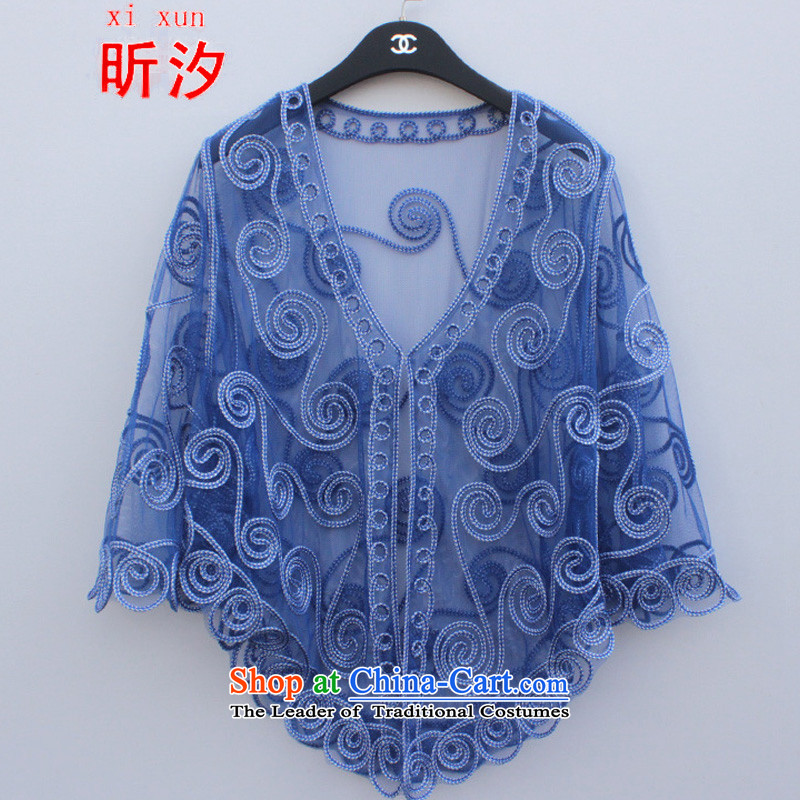 The litany of desingnhotels  &2015 Korean thick MM larger female lace jacket lace stitching Plate flower #3803 knitting cardigan large blue for both code
