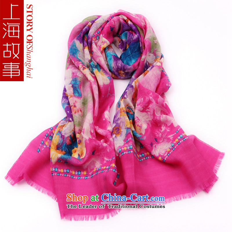 Shanghai Story scarves, autumn and winter with scarves wool pure color flowers pleasant in scarves red