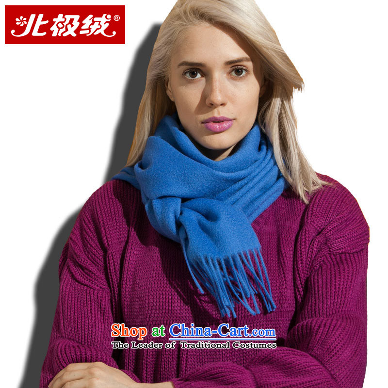 Arctic lint-free Pure wool, scarf pure color ripple of autumn and winter warm thick blue_