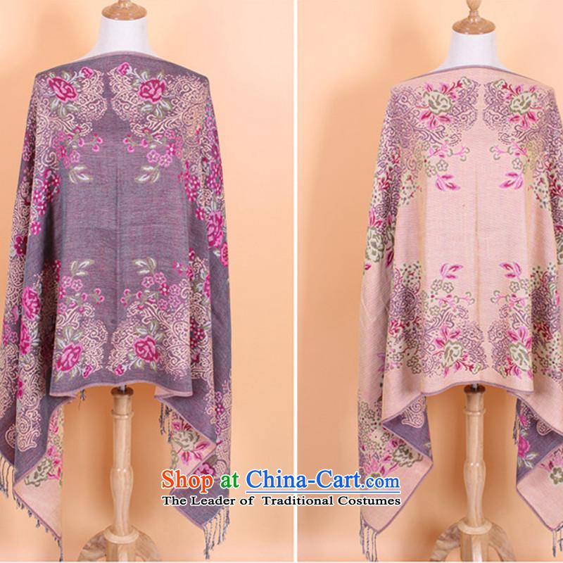 Ms. cotton linen shawl scarf of ethnic Duplex Long) Lijiang Tourism Gray