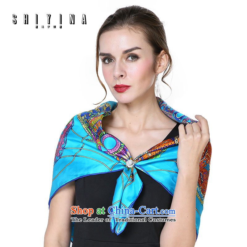 Ms Ina _shiyina_ silk scarf and classy, occupational scarf herbs extract gift silk scarf shawl blue